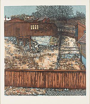 SVENOLOV EHRÉN, SVENOLOV EHRÉN, wood cut, signed and dated -76, numbered 329/360.