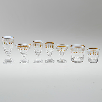 "KOSTA BODA, A 96 piece ""Odelberg Junior"" glass service from Kosta, first half of the 20th century."