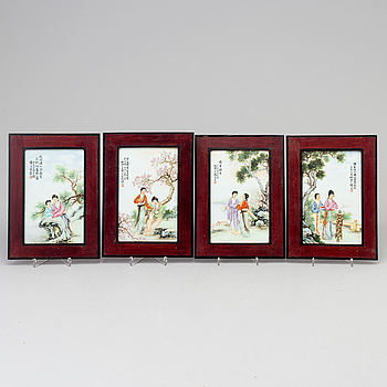 PLAKETTER, fyra stycken, porslin. Kina, 2000-tal.