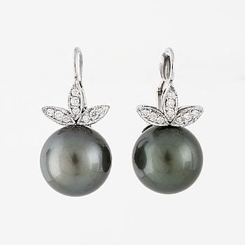 ÖRHÄNGEN, med odlade Tahitipärlor och briljantslipade diamanter totalt ca 0.15 ct.