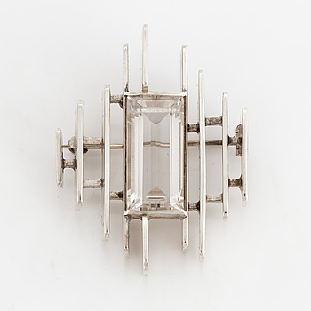 REY URBAN, a sterling silver and rock crystal brooch from Stockholm, 1965.