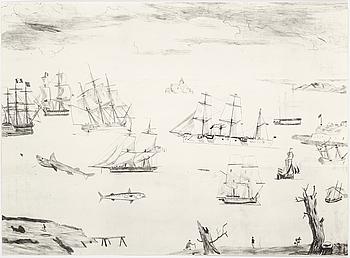 """JOCKUM NORDSTRÖM, """"Jag följer foten"""", litografi, signerad Jockum och numrerad 100/250."""