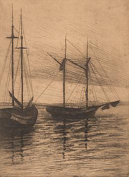 WALFRID KAUHANEN, etsning, signerad och daterad 1923.