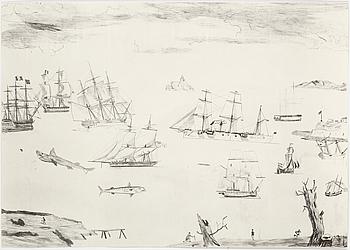"""JOCKUM NORDSTRÖM, """"Jag följer foten"""", litografi, signerad Jockum och numrerad 105/250."""