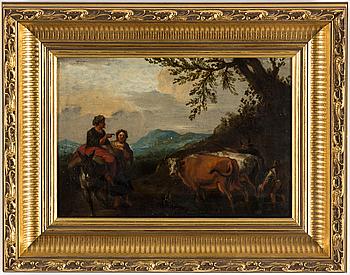 OKÄND KONSTNÄR, olja på pannå, 1700-tal.