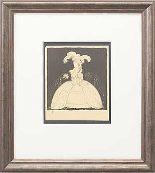 "JOHN BAUER. Litografi ur serien ""Troll"" 1915, osignerad."