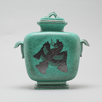 "A lidded vase, ""Argenta"" by Wihelm Kåge for Gustavsberg, circa mid 20th century."