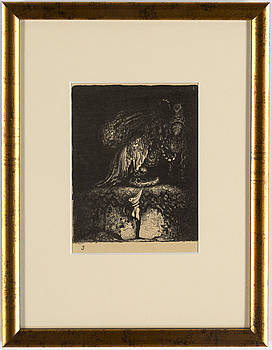 """JOHN BAUER, litografi, signerad JB i trycket, ur sviten """"Troll"""", 1915."""