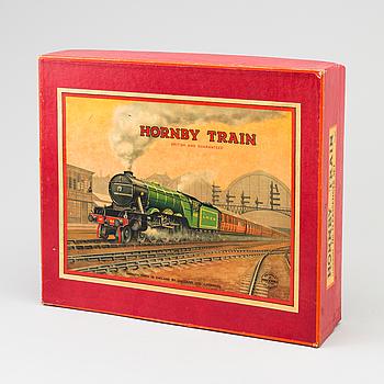 "TÅGSET, ""Hornby train"" No. 0 Passenger Train TS407, Meccano Ltd. Liverpool, England, 1930-tal."