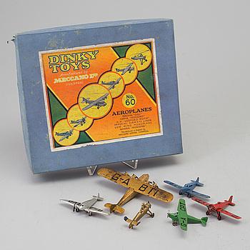 MODELLFLYGPLAN, 6 st, No. 60 Dinky Toys, Meccano Ltd., England, 1930-tal.