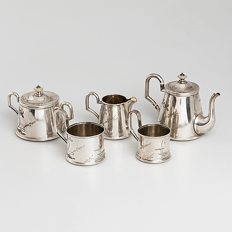 A five-piece russian parcel-gilt tea set, maker's mark b.a. for vasili andrejev or vasili akimov, moscow, 1898-1914.