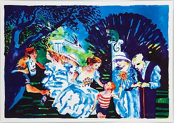 """PETER DAHL, färglitografi, """"Afton i parken"""", signerad och numrerad 308/1500."""