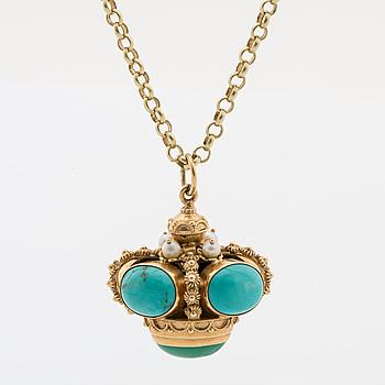 HÄNGE MED KEDJA, guld med turkoser samt pärlor.