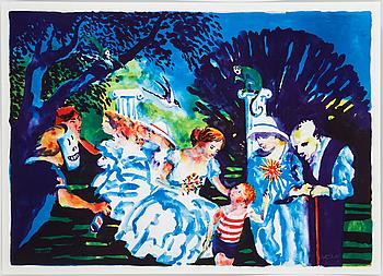 """PETER DAHL, färglitografi, """"Afton i parken"""", signerad och numrerad 309/1500."""