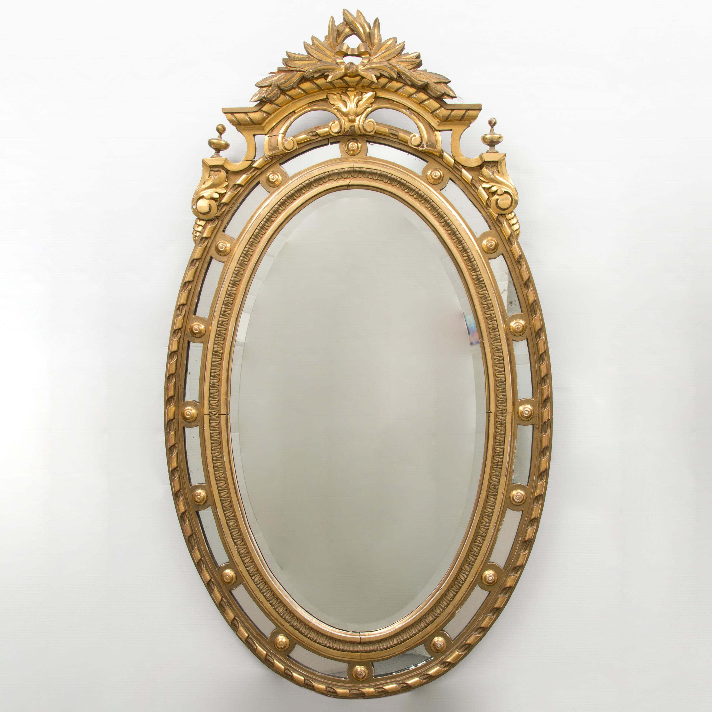 stor oval spegel