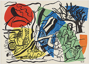 FERNAND LÉGER After, FERNAND LÉGER, after, lithograph in colours, signed and dated in the print.