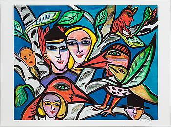 """ULRICA HYDMAN-VALLIEN, """"Kärleksbild"""", färglitografi, signerad o numrerad 925/1600."""