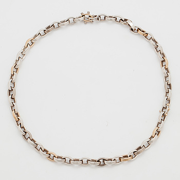 NECKLACE, silver, gold and small diamonds.