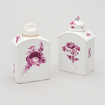 Two Meissen porcelain tea caddies, one with mark of Marcolini. 18th/19th Century.