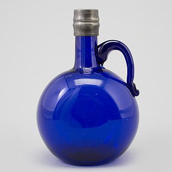 FLASKA, blått glas, 1700-/1800-tal.