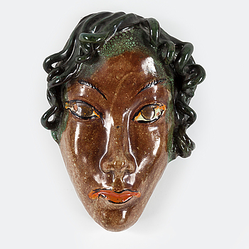 ALLAN EBELING, ALLAN EBELING, an earthenware decorative mask from Torshälla, signed.