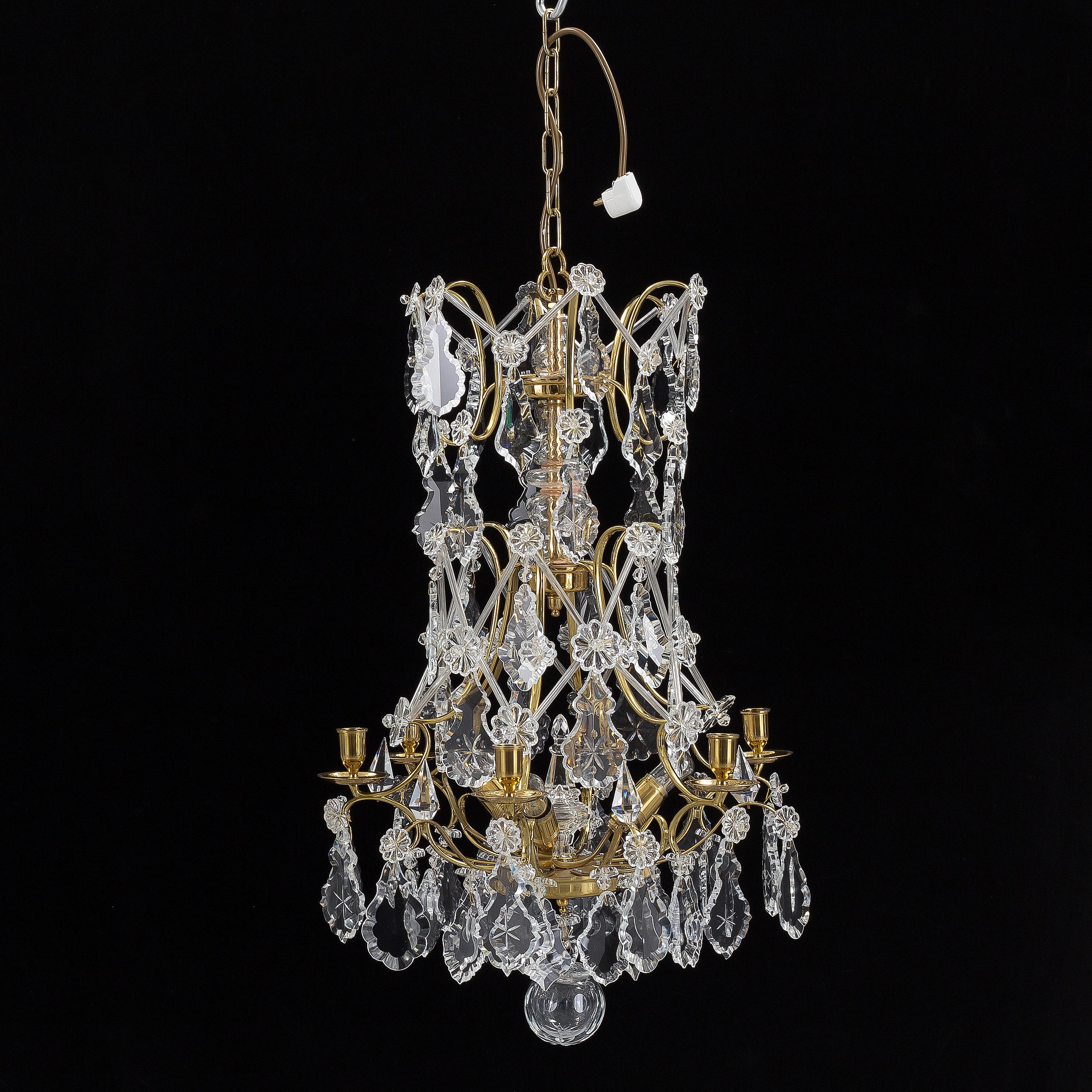 A chandelier rococo style KA Jonsson metallfabrik 20th 21th