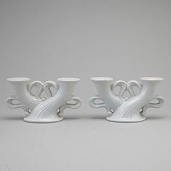 EWALD DAHLSKOG, EWALD DAHLSKOG, a pair of ceramic candelabla from Bo Fajans.