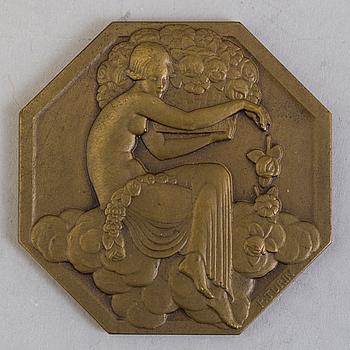 PIERRE TURIN, medalj, brons, Art Deco, Frankrike 1925.