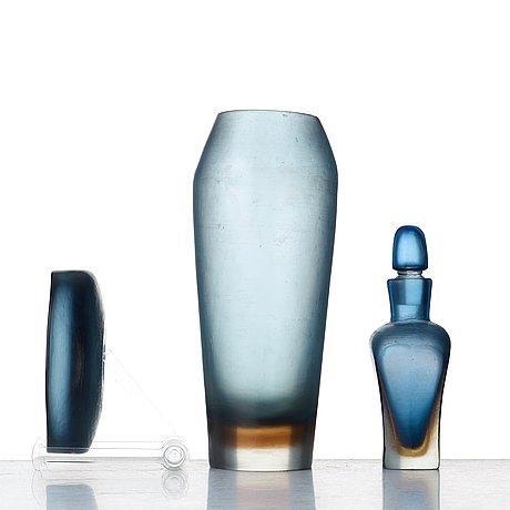 "Paolo venini, a set of three ""incisi"" glass objects by venini, murano italy 1950's."