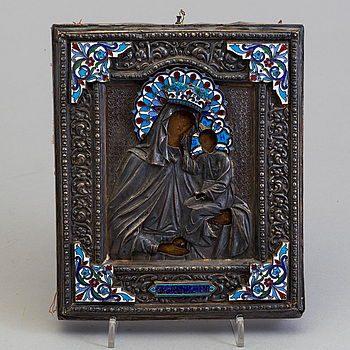 """A Russian icon """"The Mother of God"""" silver rizza and enamel cloissonné maker's mark Ivan Tarabov, Moscow, around 1900."""